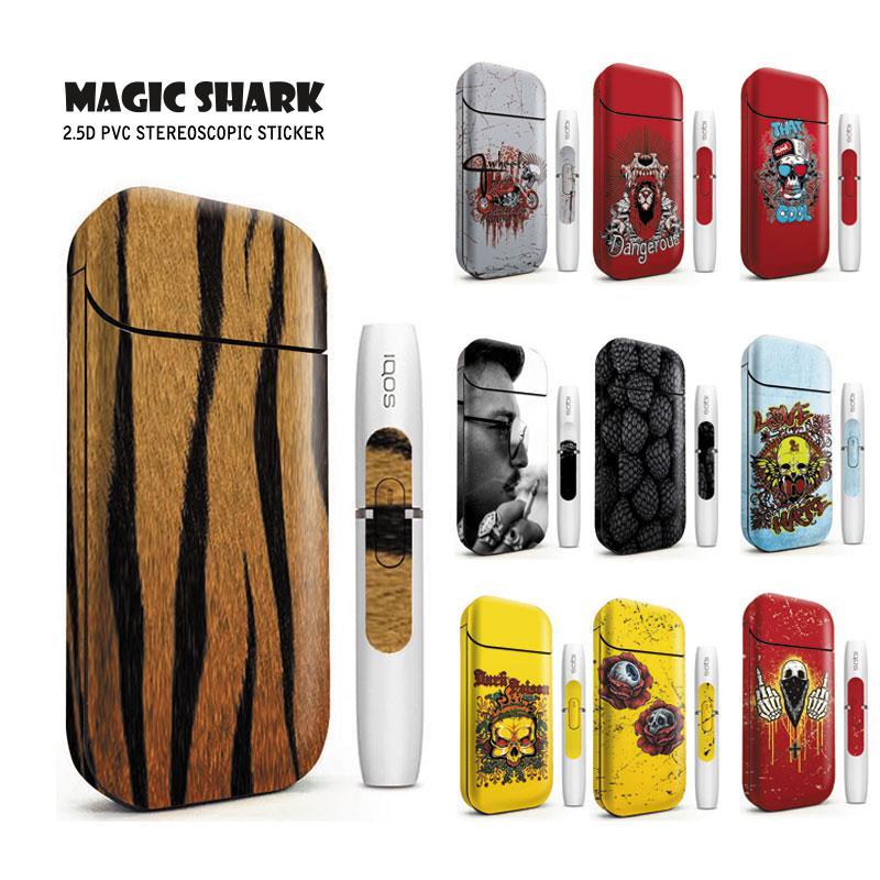 Magic Shark Hot Sale Skull Blood Berry Gentlemen Tiger Print Stereo Case Film Cover Sticker For IQOS 2.4 Plus 2.4p