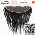 "Alipearl Hair Brazilian/Peruvian Virgin Hair Kinky Curly Frontal Natural Black Color 13""x 4"" Frontal Closure Human Hair Weave"