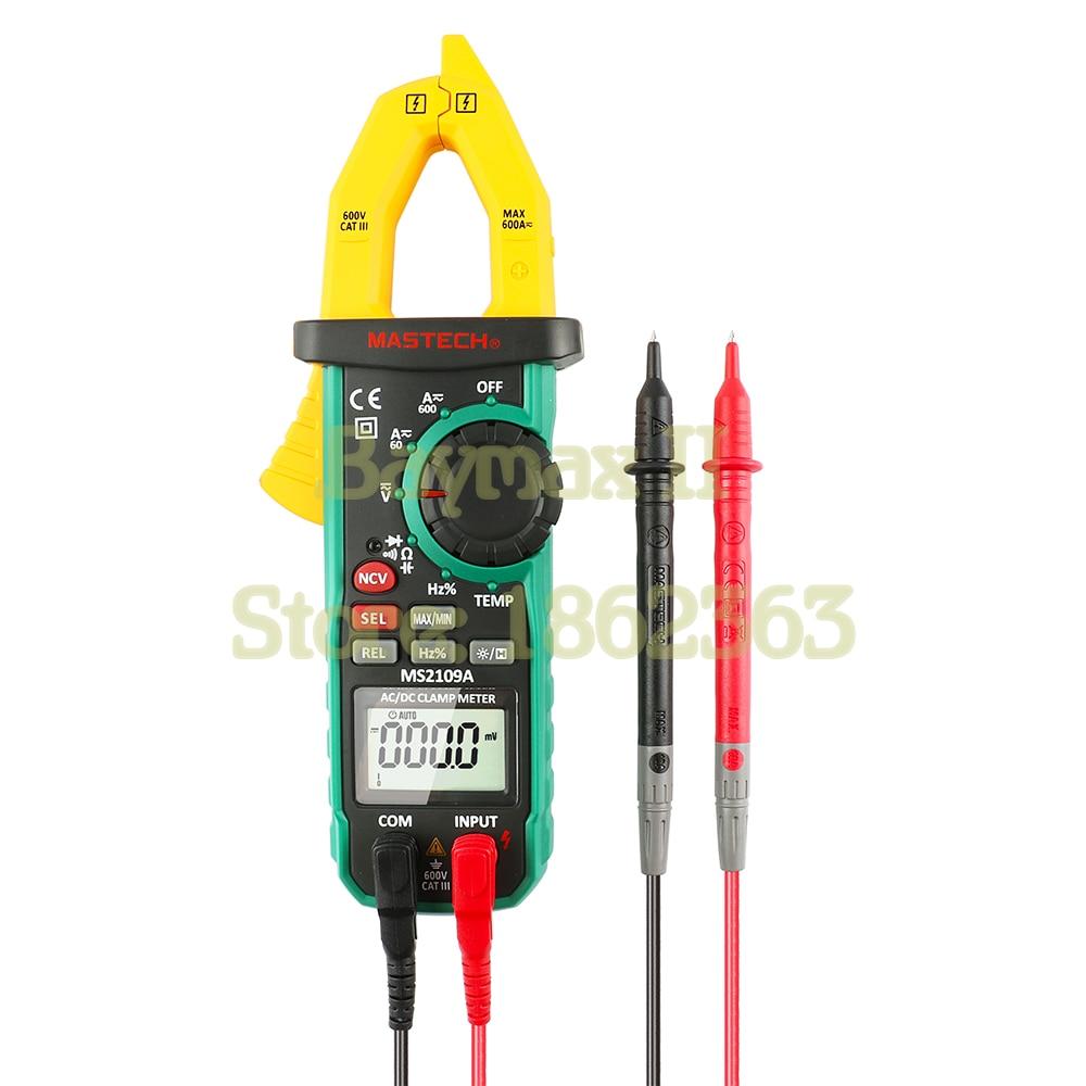 MASTECH MS2109A Auto Power off 600A AC/DC Voltage Current Digital Clamp Meter with Capacitance Hz Ohm Temperature Measurement