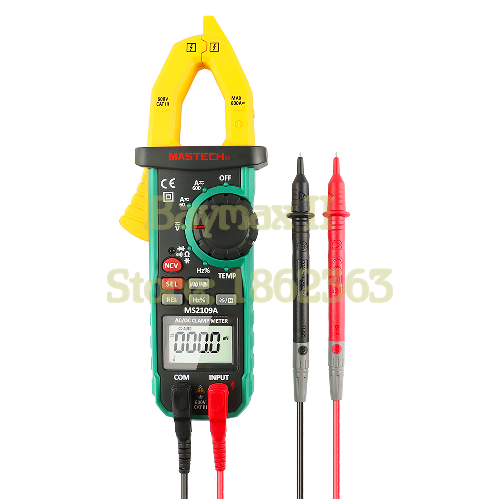 MASTECH MS2109A Auto Power-off 600A AC/DC Voltage Current Digital Clamp Meter with Capacitance Hz Ohm Temperature Measurement mastech my68 handheld lcd auto range dmm digital multimeter dc ac voltage current ohm capacitance frequency meter