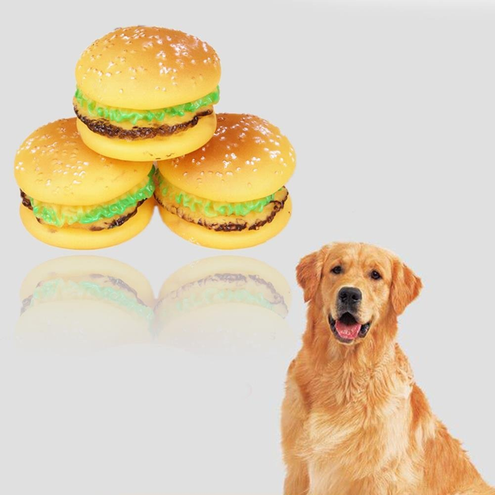Lovely Hamburger Shaped Pet Dog Pet Chew Toys Non-toxic Rubber Dog Squeaky Toys for Pet Training Tooth Cleaning Pet Toy Supplies