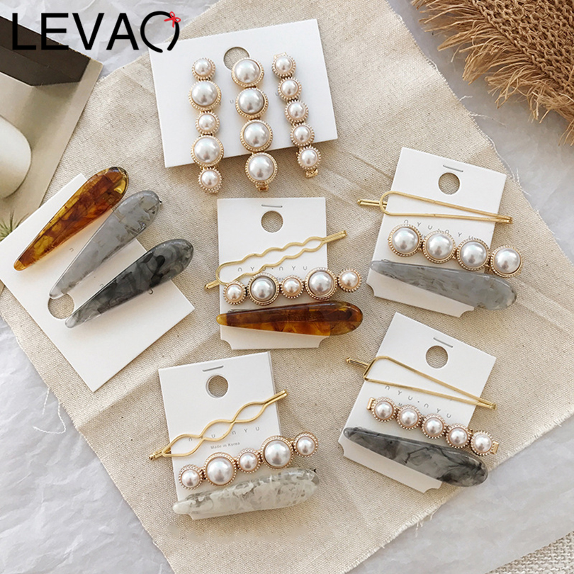 LEVAO 1/3PCS/lot Pearl Metal Hair Clip For Women Marble Pattern Print Side Bangs   Headwear   Resin Hairpins Girl Hair Accessories