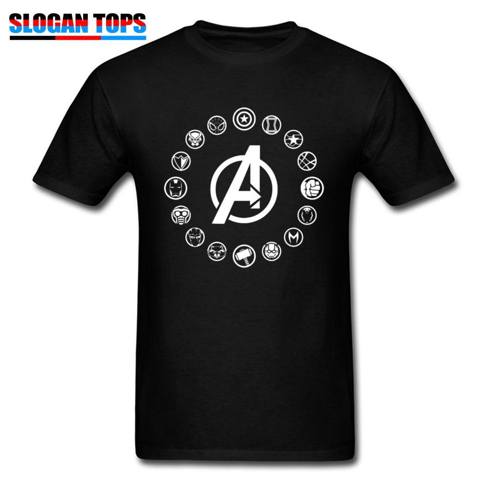 2019 Men T Shirt Avengers Infinity War Hero Icons T-Shirt Marvel Thor Crewneck 100% Cotton Adult Tops Thanos Tee-Shirt Hot Sale