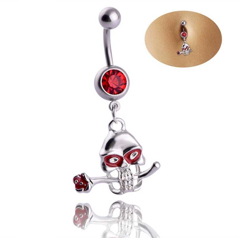 Fashion Red Skull Belly Button Ring Body Jewelry Piercings Navel Rings Retro Women Girls Beach Accessories Party Gift