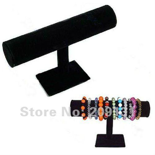 23cm X 14cm Velvet Bracelet Display 1 Row Black Bangle Watch Jewelry