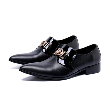 New Fashion Men's Slip-on Dress Shoes Genuine Leather pointed- Oxfords  Shoes Business Office low heel shoes