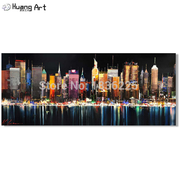 2019 New Special Offer Busy Modern City Landscape Hand-painted Oil Paintings On Canvas Top Quality Night Scenery Wall Painting