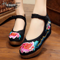 NEW black or red wedge heels 5cm fashion peony embroidery women's flats Leisure national style shoes free shipping