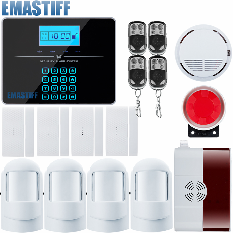 Touch LCD keypad Wireless&wired GSM SMS Home Security Alarm System support PIR/Door Sensors intelligent home security alarm system with new door sensor pir detector app control sms gsm alarm system support rfid keypad