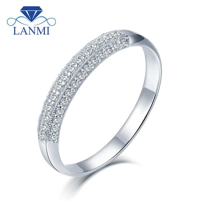 lanmi solide 9 k or blanc vrai diamant bague de mariage. Black Bedroom Furniture Sets. Home Design Ideas