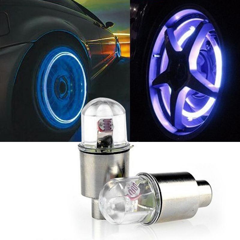 Vehemo 2PCS Multicolor LED Lights Valves Caps Bike Bicycle Neon Lights Lamp Tyre Tire Valve Caps Wheel Car Styling