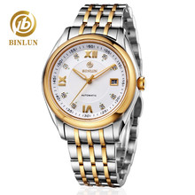 BINLUN Men's Automatic Business Dress Watch Stainless Steel Large Face Watches with Date все цены