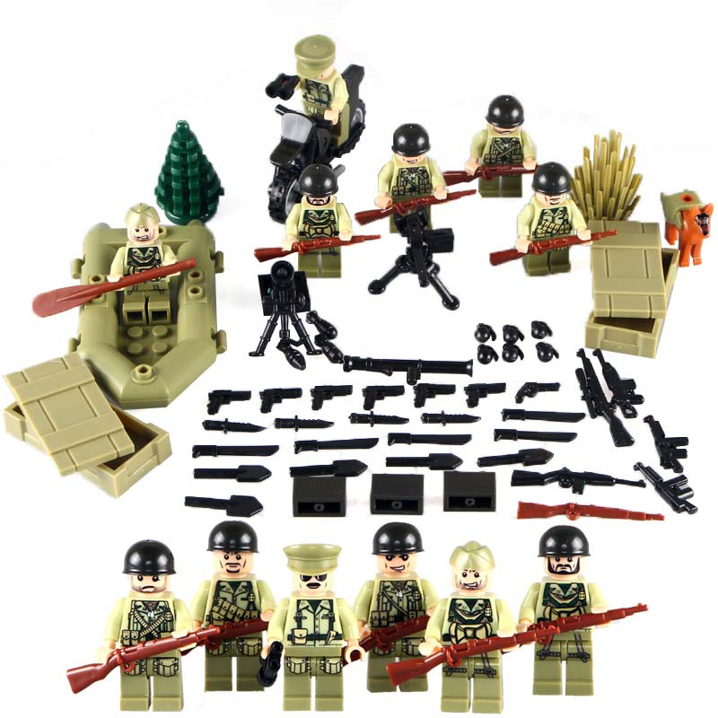 US Army WORLD WAR 2 Military SWAT Weapon Soldier Navy Seals Team Building Blocks Figures Toys Children Gift Compatible With Lego xinlexin 317p 4in1 military boys blocks soldier war weapon cannon dog bricks building blocks sets swat classic toys for children
