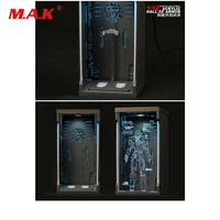 1/12 Scale Iron Man Acrylic Hall of Armor Display Dust Box MK1 for 6 inches Action Figure Accessory