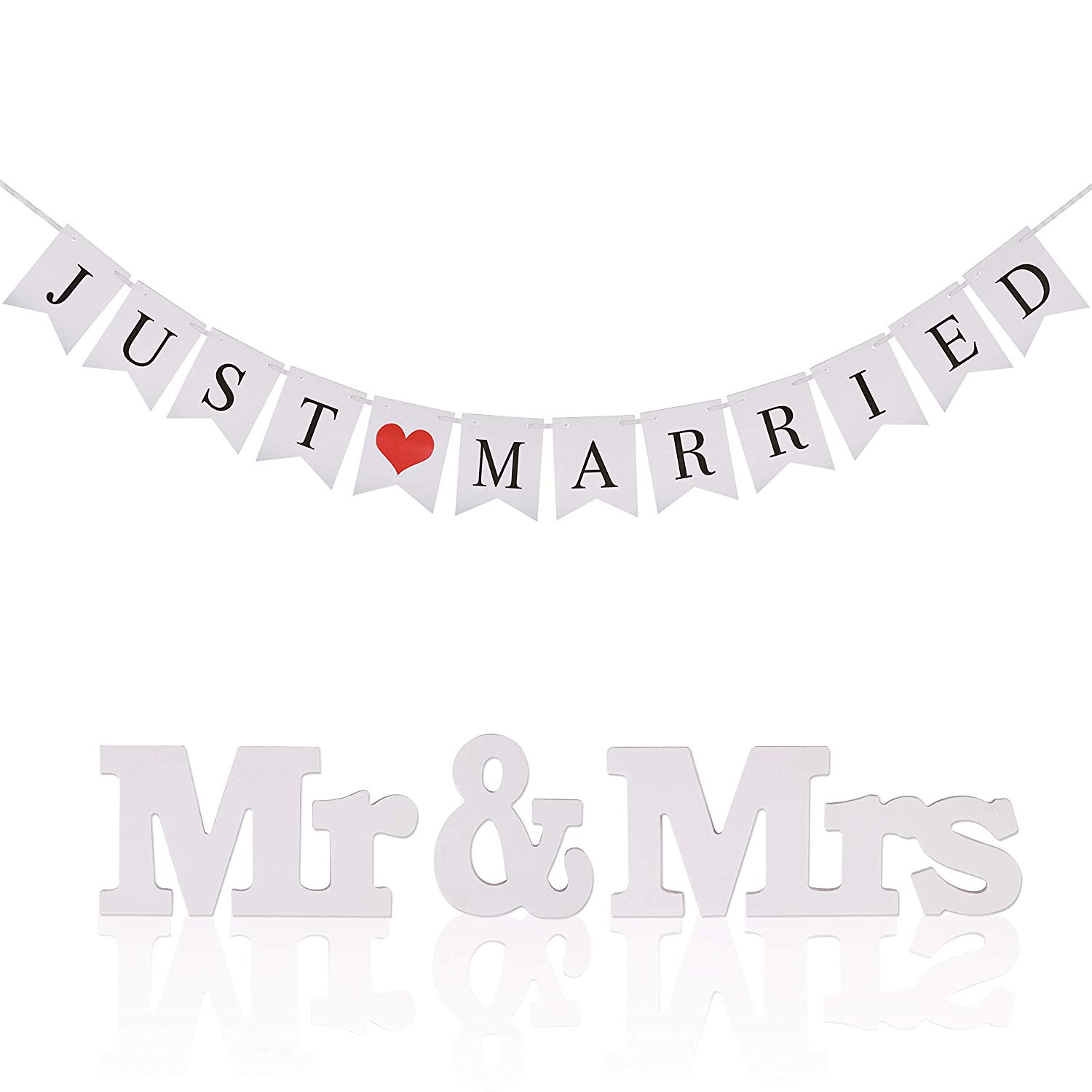 METABLE 1pcs Banner Bunting Banners Pennant Vintage Hanging Garland Decoration for Reception Bridal Shower and Engagement Photo
