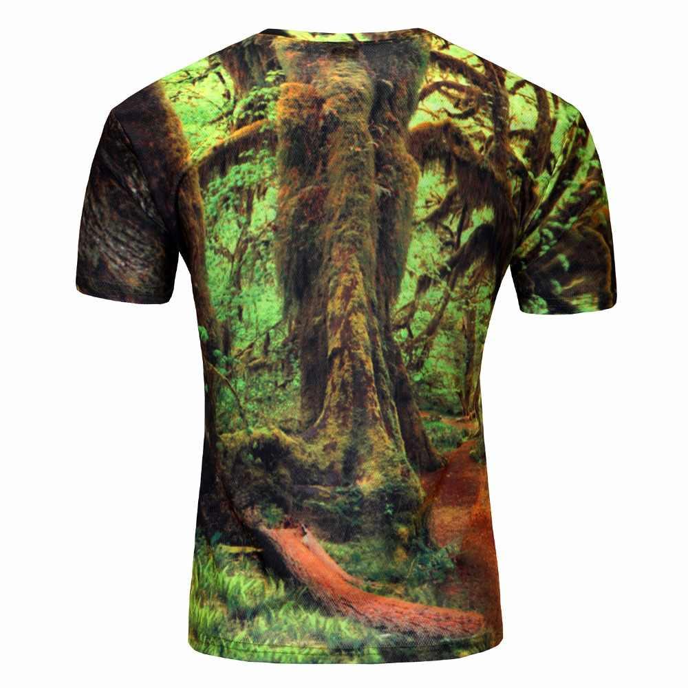 Новое поступление, Мужская футболка с 3d принтом, футболка с лесными деревьями, быстросохнущие летние футболки, повседневные брендовые футболки, большие размеры