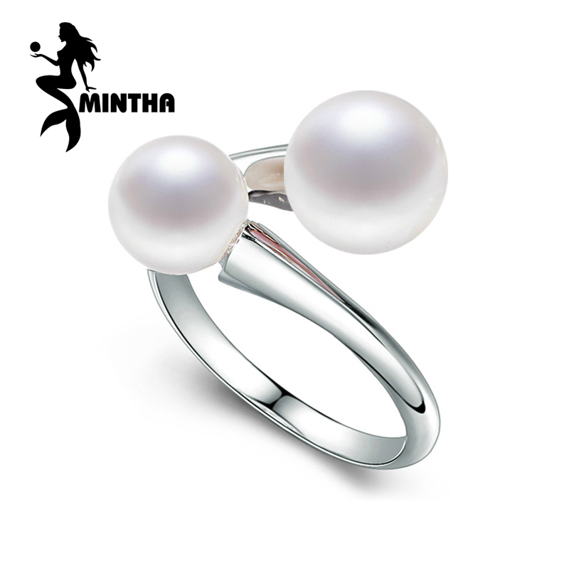 MINTHA Pearl Jewelry,100% natural double Pearl rings,Natural Freshwater Pearl 925 Silver ring,trendy Bohemia ring for women love trendy faux pearl flower rhinestone shape cuff ring for women