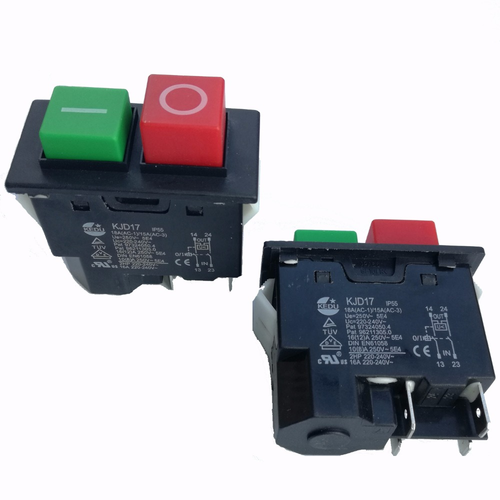 2pc 4pin IP55 220-240V 16A Electromagnetic Push button Safety Switch for Garden Machine Electronic Power Tool Equipment KJD17
