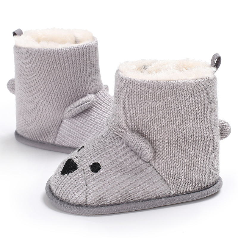 Cute Bear Baby Shoes Toddler Shoes Girl Boy Winter Baby Boots Warm Fleece Children Kids Snowboots in First Walkers from Mother Kids