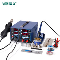 2A 220V YIHUA 853D Iron Soldering Station With 5V USB DC Power Supply Hot Air Gun Iron Rework Station