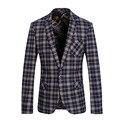 Homens blazer 2017 mens blazer xadrez custom fit blazer para os homens figurinos para os cantores ternos partido prom vestidos vintage
