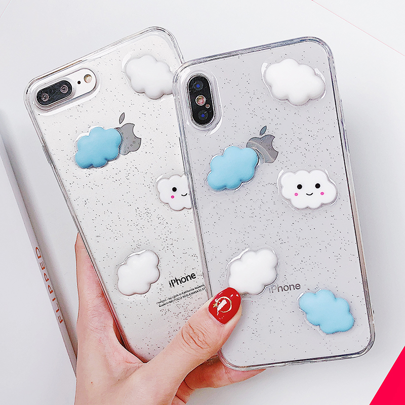 Lewinsky Cute Cartoon 3D White Clouds Phone Case For iPhone 7 Plus Transparent Soft TPU Cases Clear Cover For iPhone 8 6 6s 7 Plus X (1)