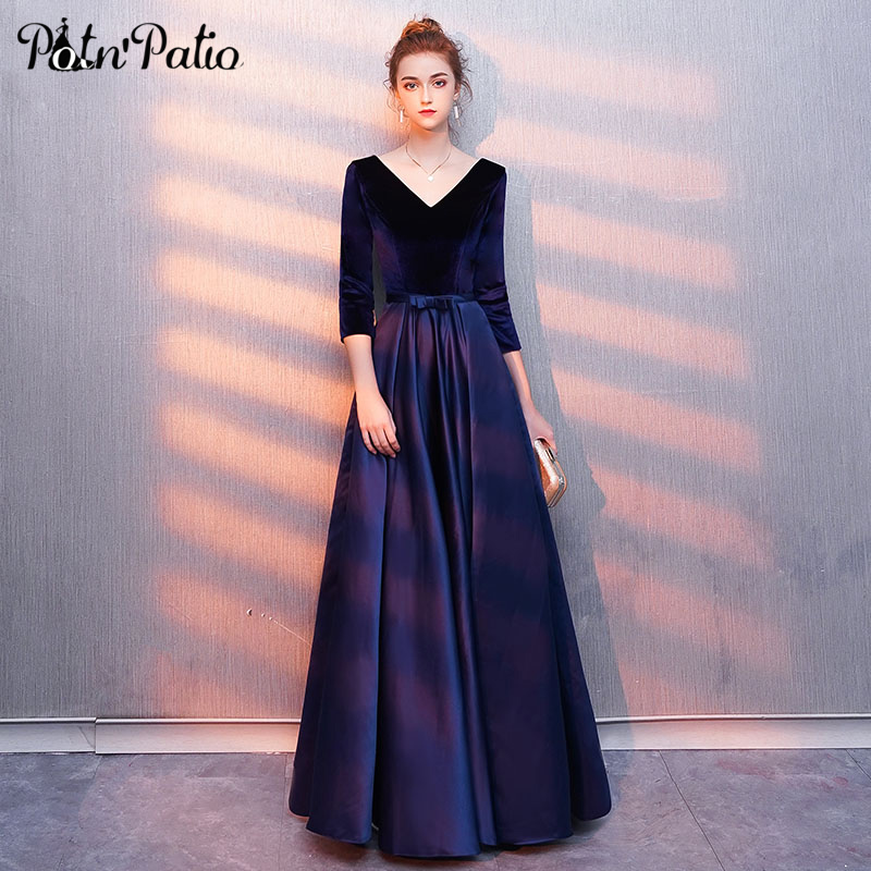 Elegant Velvet   Prom     Dress   with 3/4 Sleeve Sexy V-neck Open Back Brief Satin Evening Party   Dress   Luxury Special Occasion   Dress