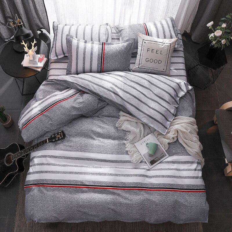 New Black Strips Birthday Present Duvet Cover Flat Bed Sheet Linen Pillowcase Bedding Sets Full King Twin Queen Size 3/ 4pcs