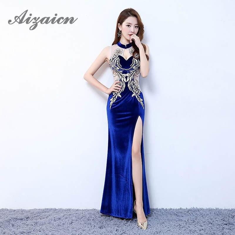 Robes de soirée chinoises Sexy 2018 longue Qipao bleu ouvert fente dos nu robe de soirée broderie Cheongsam sans manches