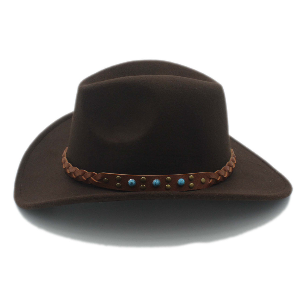 d691bce23bc8d Camel Wool Felt Cowboy Hats For Men Women Small Size 55cm Cowboy Hat Bands  For Men  Woven Band Cowboy Hat