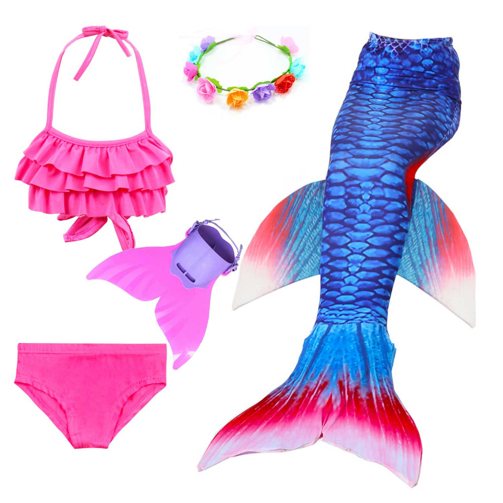 Girls Walkable And Swimmable Mermaid Tail For Swimming Swimsuit Kids Little Princess Bikini Mermaid Costume Monfin Garland Set