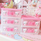 1PC Cute Pink Hello Kitty Desktop Receiver Box Cosmetic Storage Drawer Jewelry Storage Boxes 2D