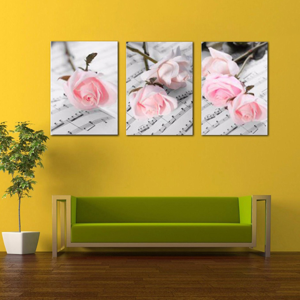 Poster Modular Picture Canvas 3 Pieces Romantic Pink Rose Wall Art ...