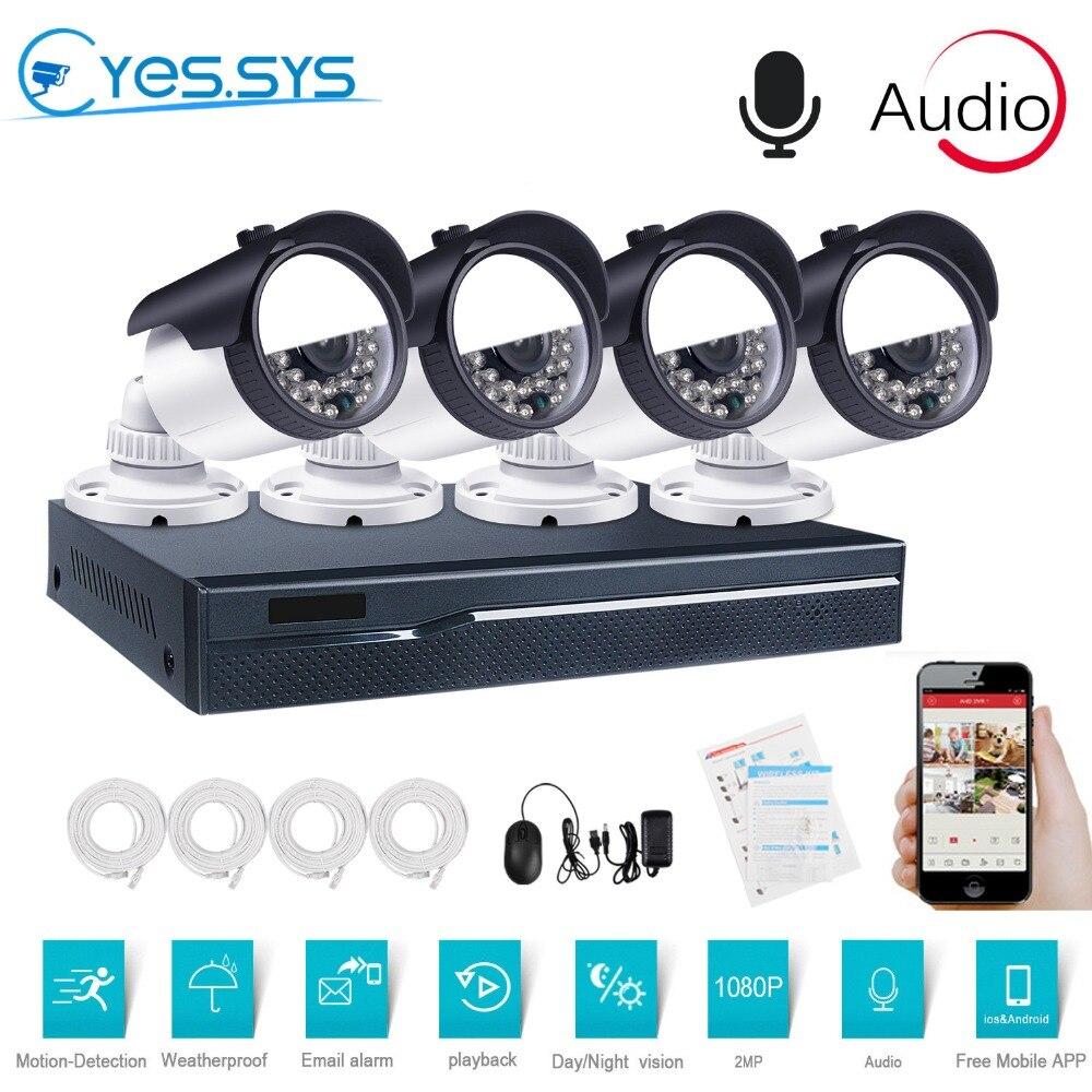 eyessys 4PCS 1080P 2MP Audio IP Camera 4CH 4 0MP POE NVR IP IR CUT outdoor