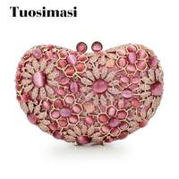 Gift Box Packed Women Heart Pink Stones Crystal Rhinestones Metal Clutches Evening Bag Wedding Cocktail Hardware Handbag Purse