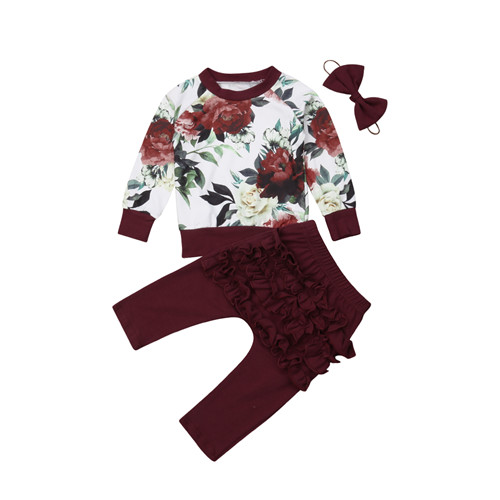 0-24M Newborn Infant Kid Baby Girl Cotton Long Sleeve Flower Tops T-shirt Ruffle Pants Leggings 3Pcs Set Outfits Baby Clothes