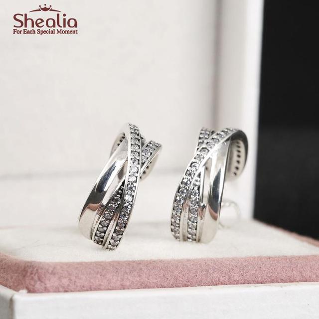 Real 925 Sterling-Silver-Jewelry Entwined Half Hoop Earrings For Women Zircon Stone Valentine Earring bijoux Wedding Acessories