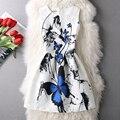 Lady pequeno fresco tinta azul borboleta mangas vest dress mulheres princess dress
