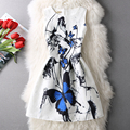 lady small fresh ink blue butterfly sleeveless vest dress women Princess Dress