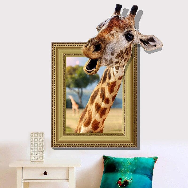 & 3D Cartoon Frame giraffe Jungle animal wall stickers for kids room living room home decor Art poster wallpaper Broken wall