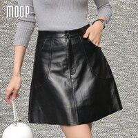 Noir véritable en cuir jupes femmes A-ligne robe de bal jupe faldas jupe saia etek 100% agneau en peau de mouton jupe bateau libre LT942