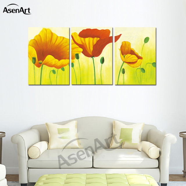 Wall Art Yellow Pink Flower Pictures 3 Panel Oil Painting Canvas ...