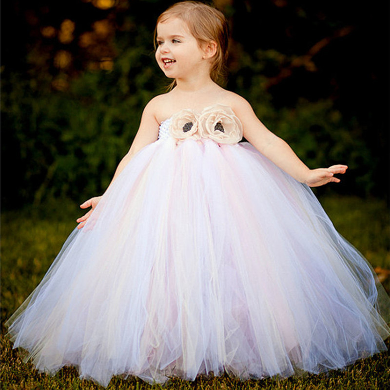 White Vintage Handmade Tulle Flower Girl Dress Princess Costume Children Kids Prom Party Wedding Dress Baby Girl Tutu Dresses white flower girls lace tutu dresses 2016 girl summer communion prom evening dress children princess dress 3 12y kids clothes
