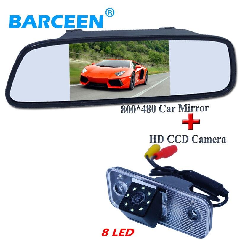 цена на ccd image sensor car rear view camera bring 8 led with 5 car rear mirror monitor for Hyundai new Santafe Santa Fe Azera