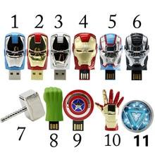 King Saras USB Flash Drives 2.0 Avengers Iron Man 128GB 64GB Pen Drive 32GB 16GB  8GB 4GB Captain America Pendrive Free Shipping