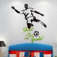 Piłkarz Strzał cel Projekt Akrylowe Pokoju Dekoracje Ścienne Naklejki dla chłopca Dzieci Urodziny Xmas Prezent 3D Ściany naklejki