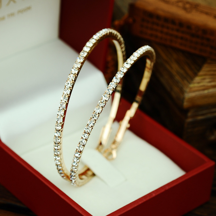 Lemoer 2017 New Fashion 90mm Rhinestone Circle Earrings Gold Silver Color Hoop For Women Christmas Gift In From
