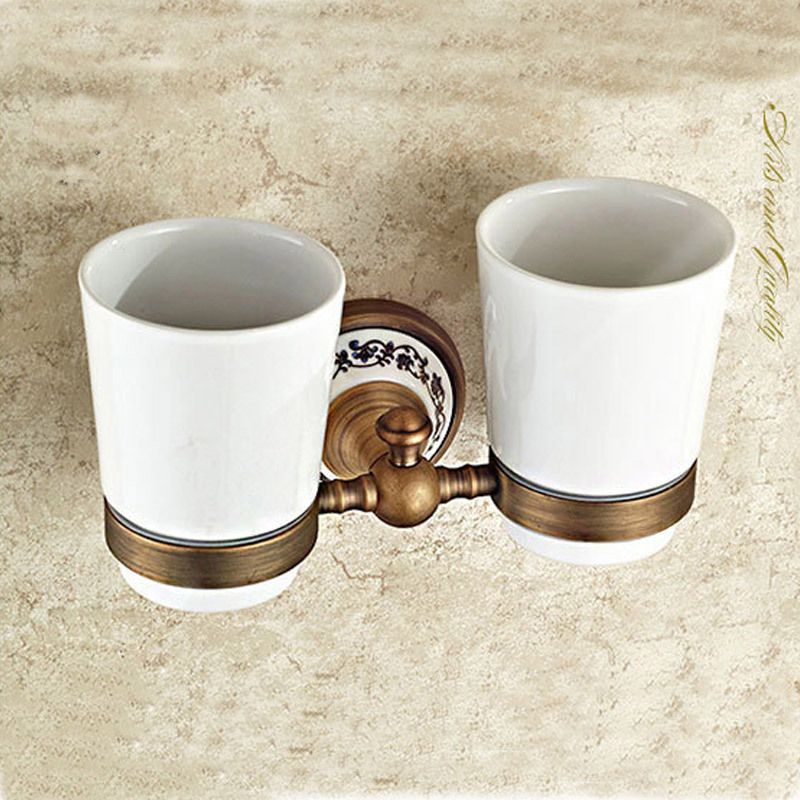 Brass antique porcelain Double tumbler cup holder toothbrush holder bathroom accessory sanitary ware bathroom furniture toilet image