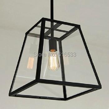 Vintage Loft Industrial American Glass Box Bell Edison Pendant Lamp Kitchen Dinning Living Room Modern Home Decor Lighting