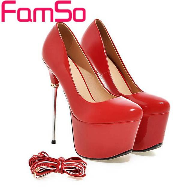 Plus Size34-43 2017 New Pumps For Women heels height 16cm 7Colors black red gold Silver Wedding pumps Female Party Pumps PS1556